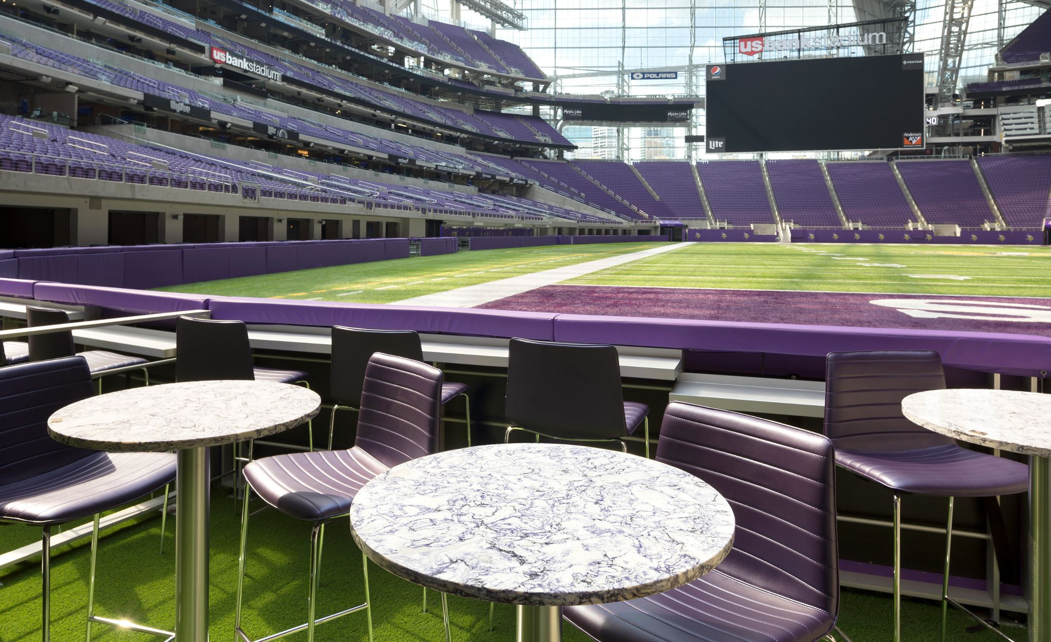 These custom designed tables are one of many stunning Cambria spaces that inspires sports fans.