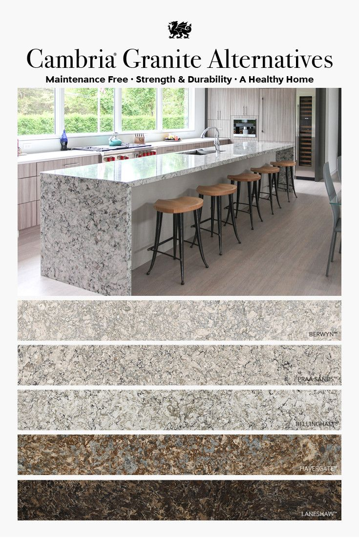 Cambria granite alternatives featuring Berwyn, Praa Sands, Bellingham, Havergate, and Laneshaw.