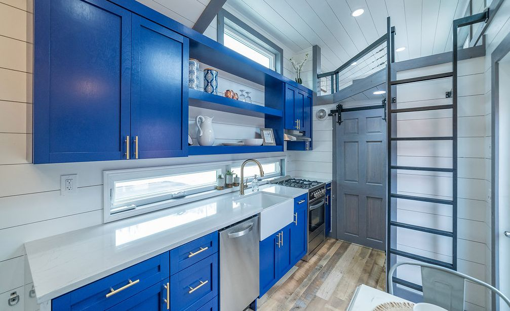 Custom mobile tiny home with Cambria Ella countertops.