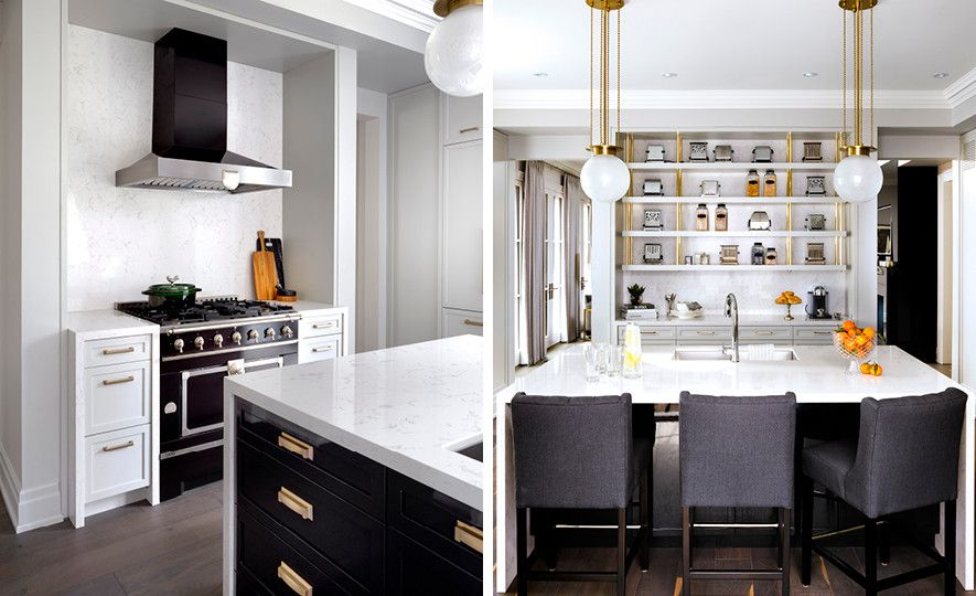 Cambria Torquay™ creates subtle marble texture behind a range and open shelving in this kitchen.