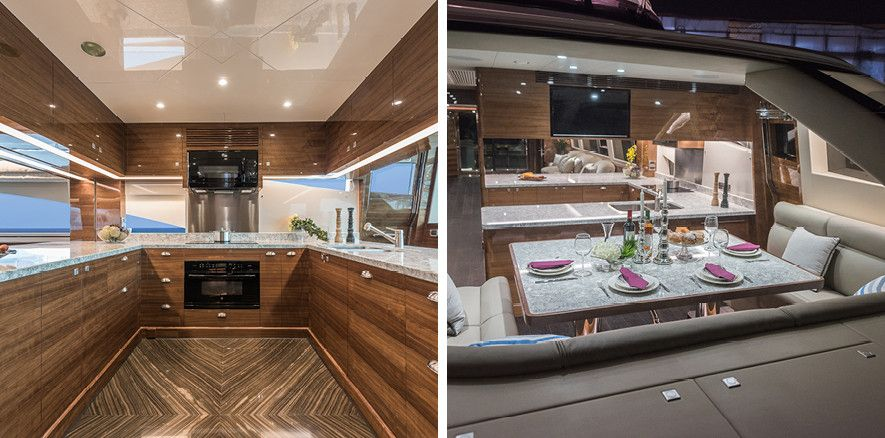 This glamorous yacht with Cambria Berwyn countertops makes a statement with neutrals.