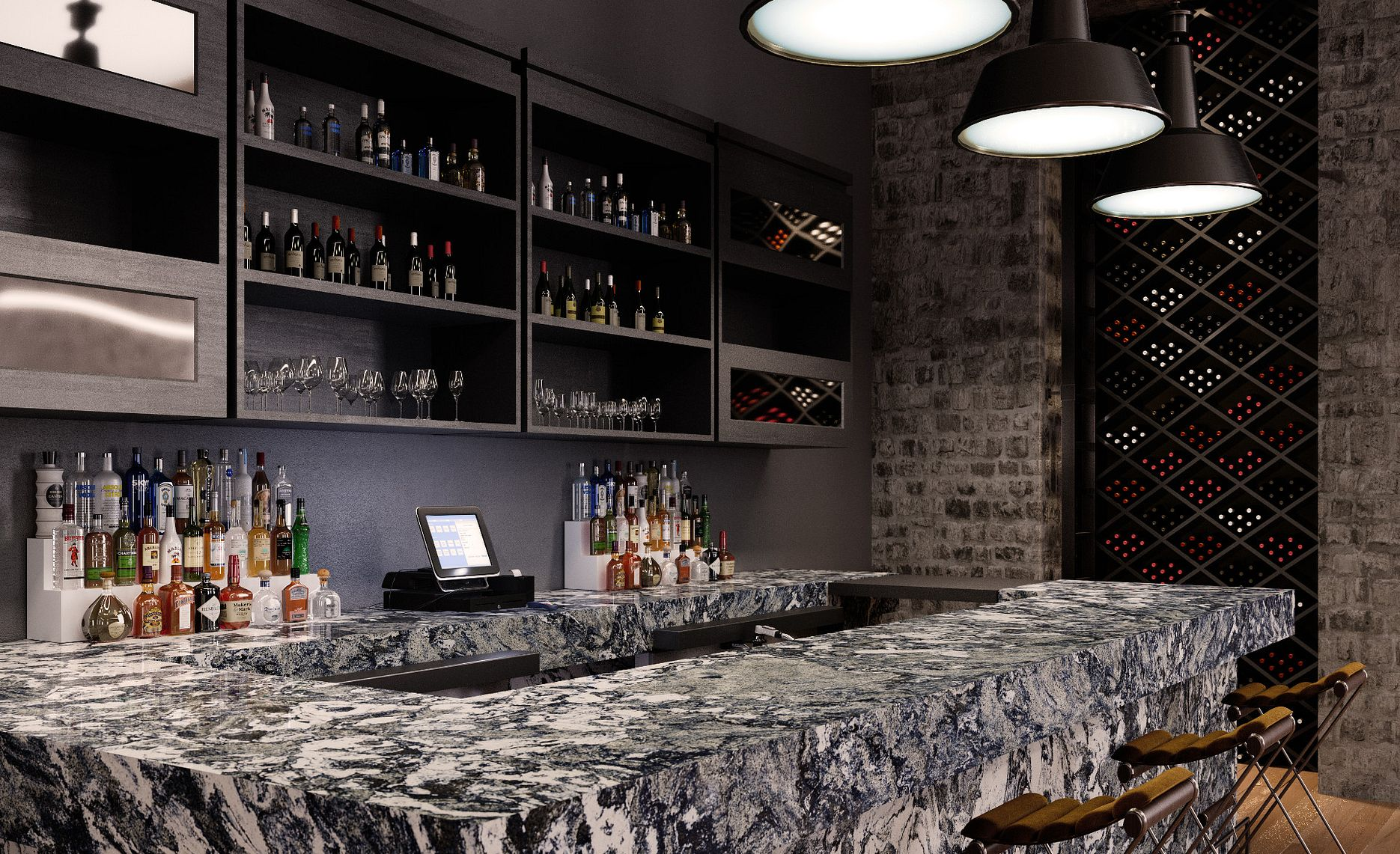 Dramatic navys are highlighted in Islinton in this chic bar.
