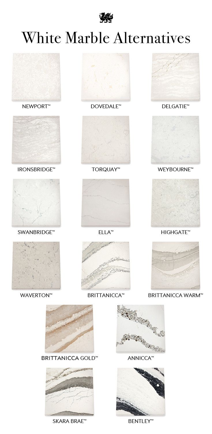 A sampling of Cambria's beautiful quartz alternatives to white marble.