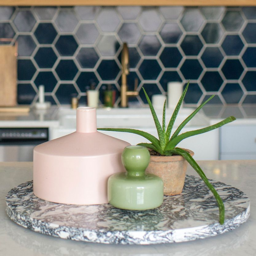 Cambria lazy Susan being used as kitchen decor.