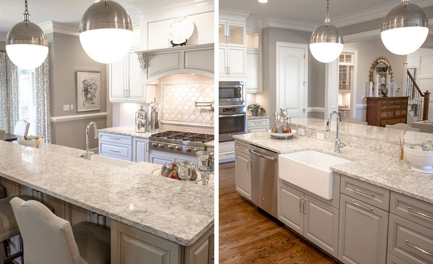 Gorgeous gray kitchen featuring Cambria Berwyn countertops.