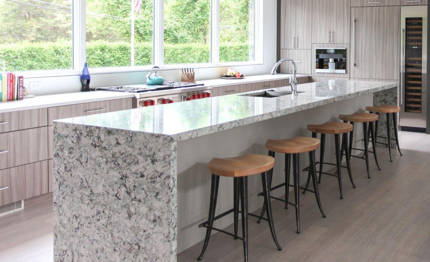Cambria Praa Sands provides a durable alternative to light granite countertops.