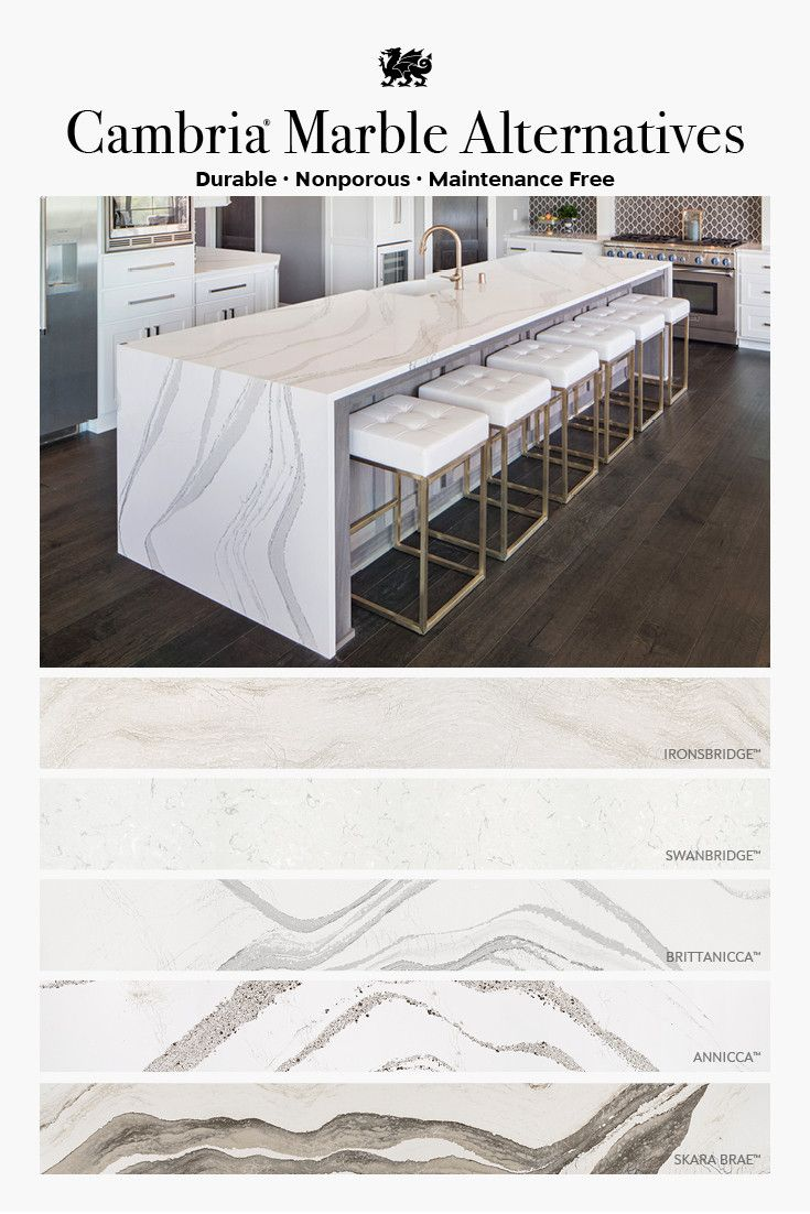 Cambria marble alternatives featuring Ironsbridge, Swanbridge, Brittanicca, Annicca, and Skara Brae.