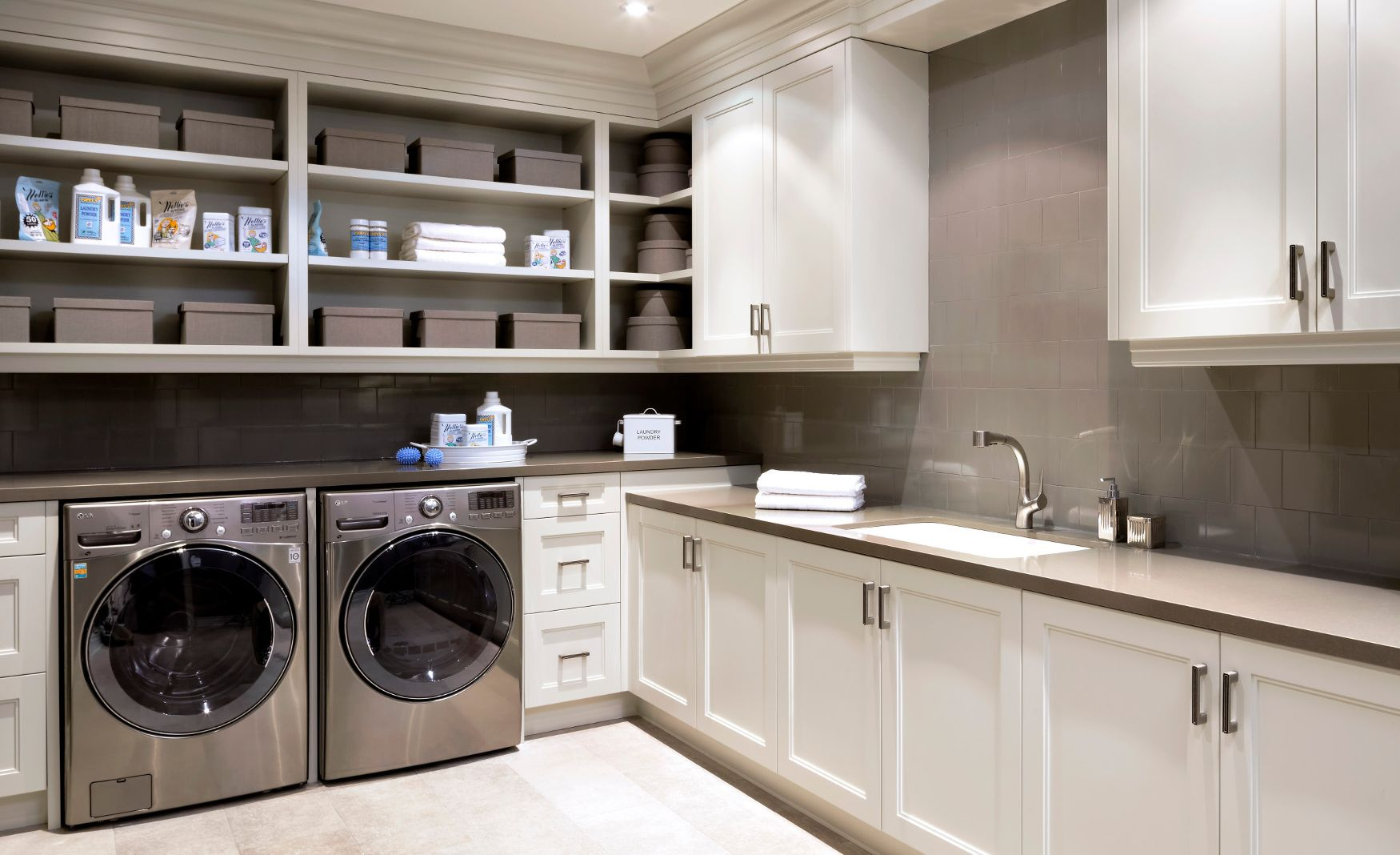Cambria Devon countertops in a sleek and stylish laundry room.