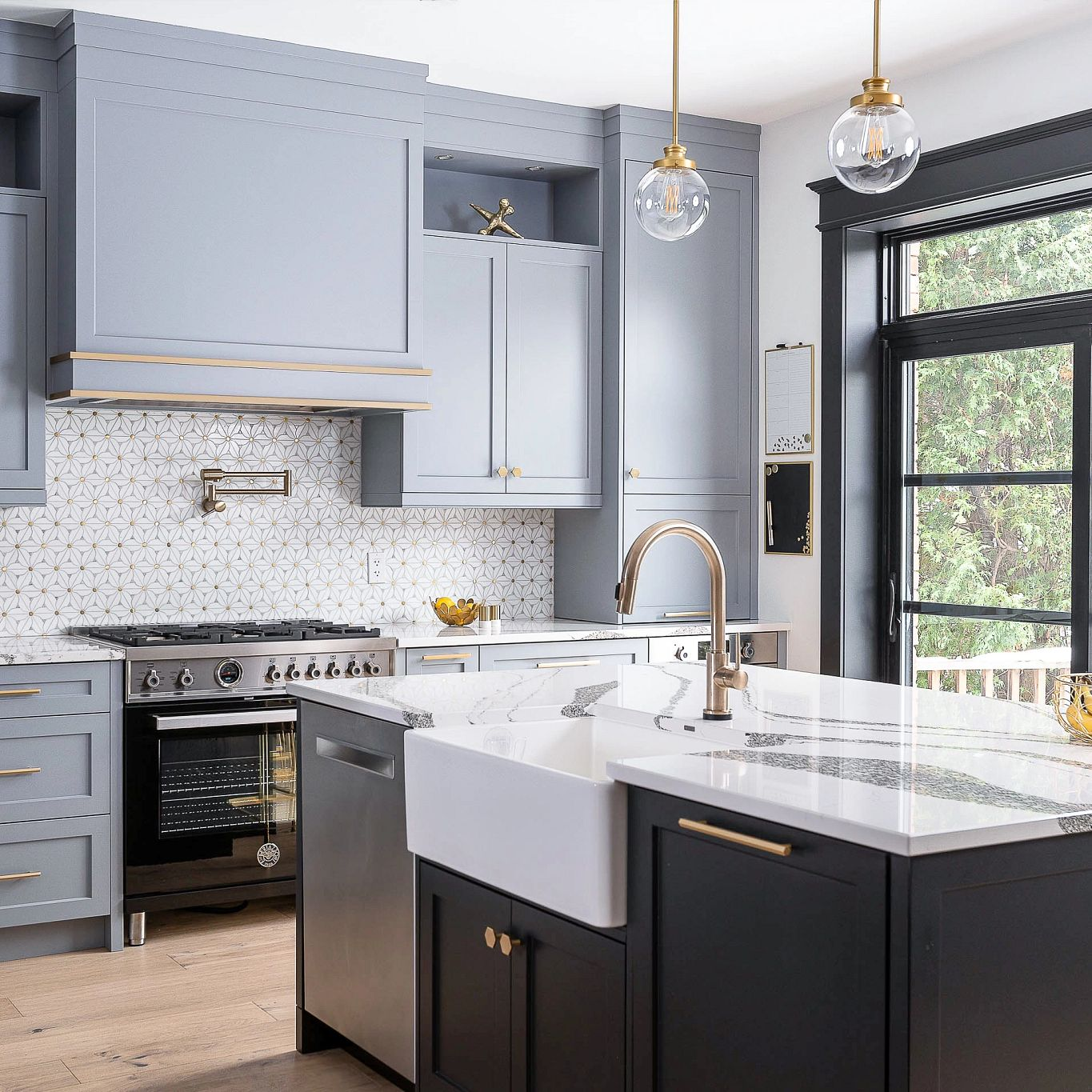 Cambria Anicca paired with white chevron tile backsplash.