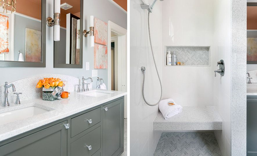 Master bath vanity and shower bench featuring Cambria Whitney.