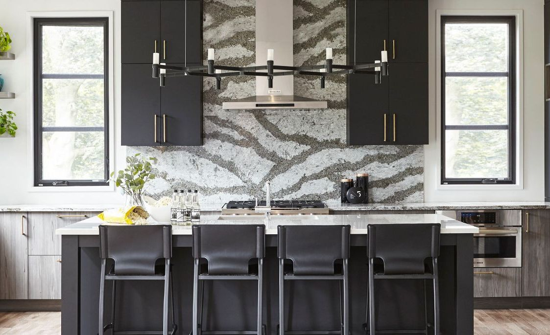Create stunning symmetry with a captivating Cambria Galloway backsplash focal point.