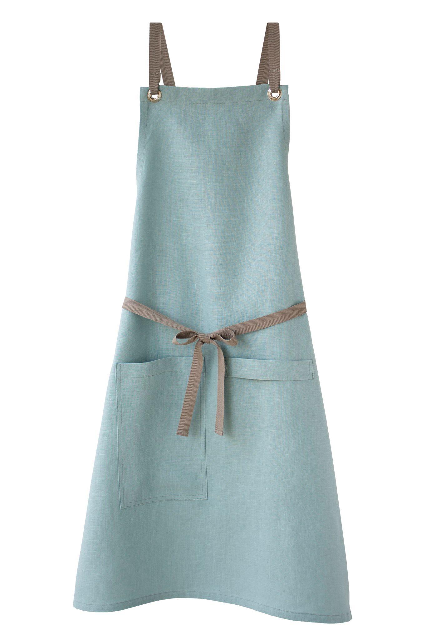 Ocean-blue cross-back kitchen apron in linen by Studiopatró