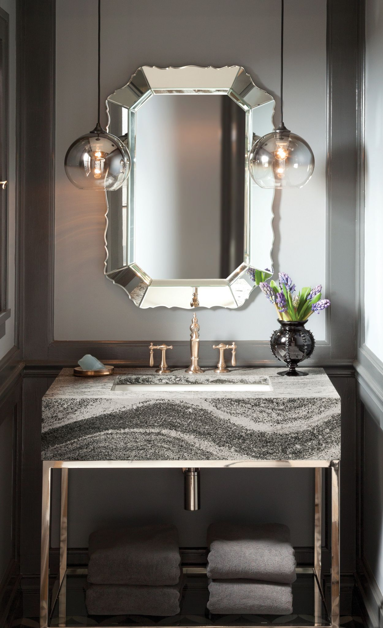 Add Cambria Roxwell to a Restoration Hardware vanity for a glam look.