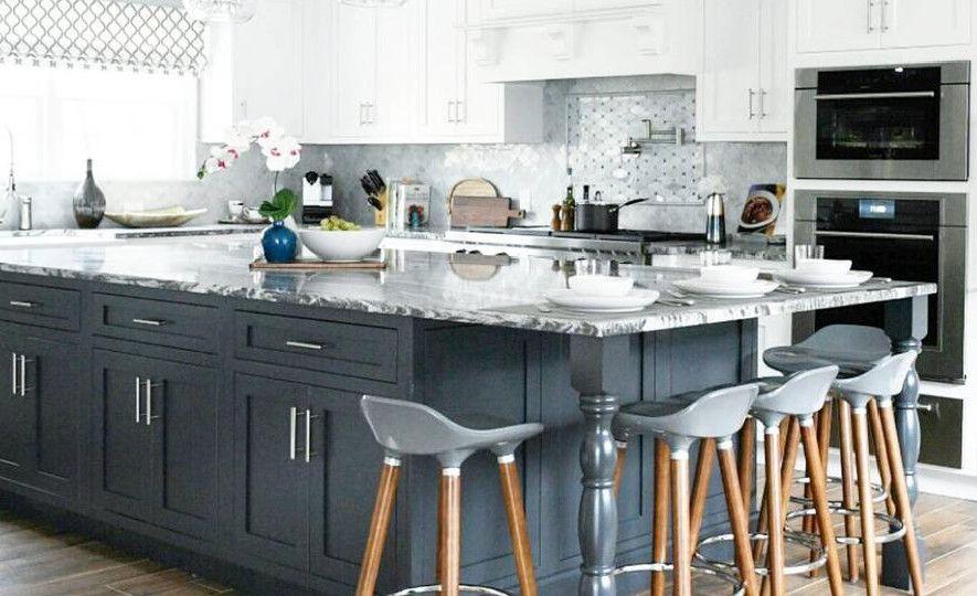 Gorgeous gray kitchen featuring Roxwell.