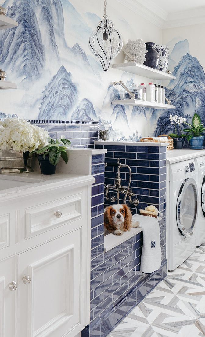 Glam laundry room with dog wash featuring Ella countertops.