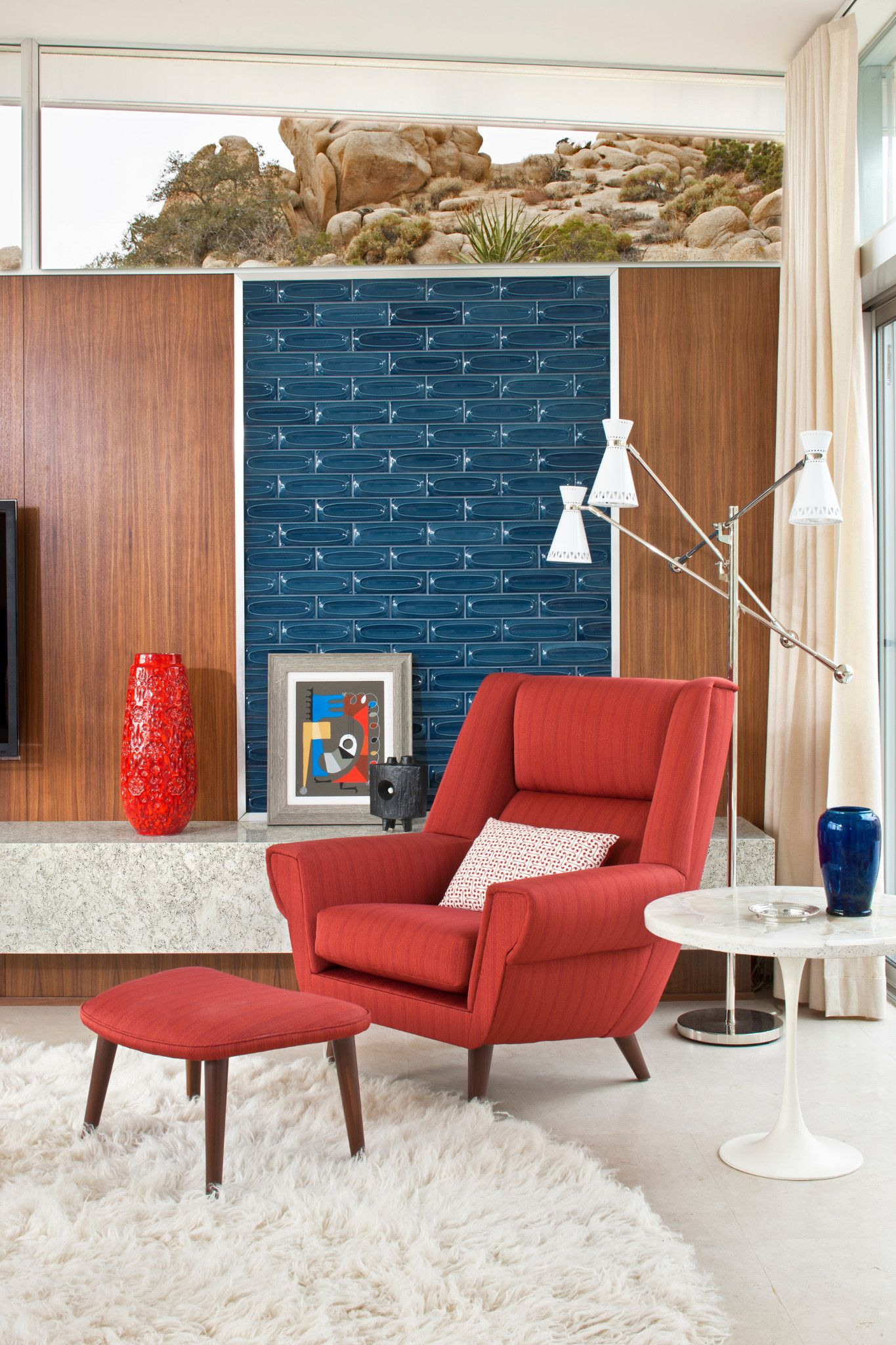 Red Chair Detail Living Room by Christopher Kennedy