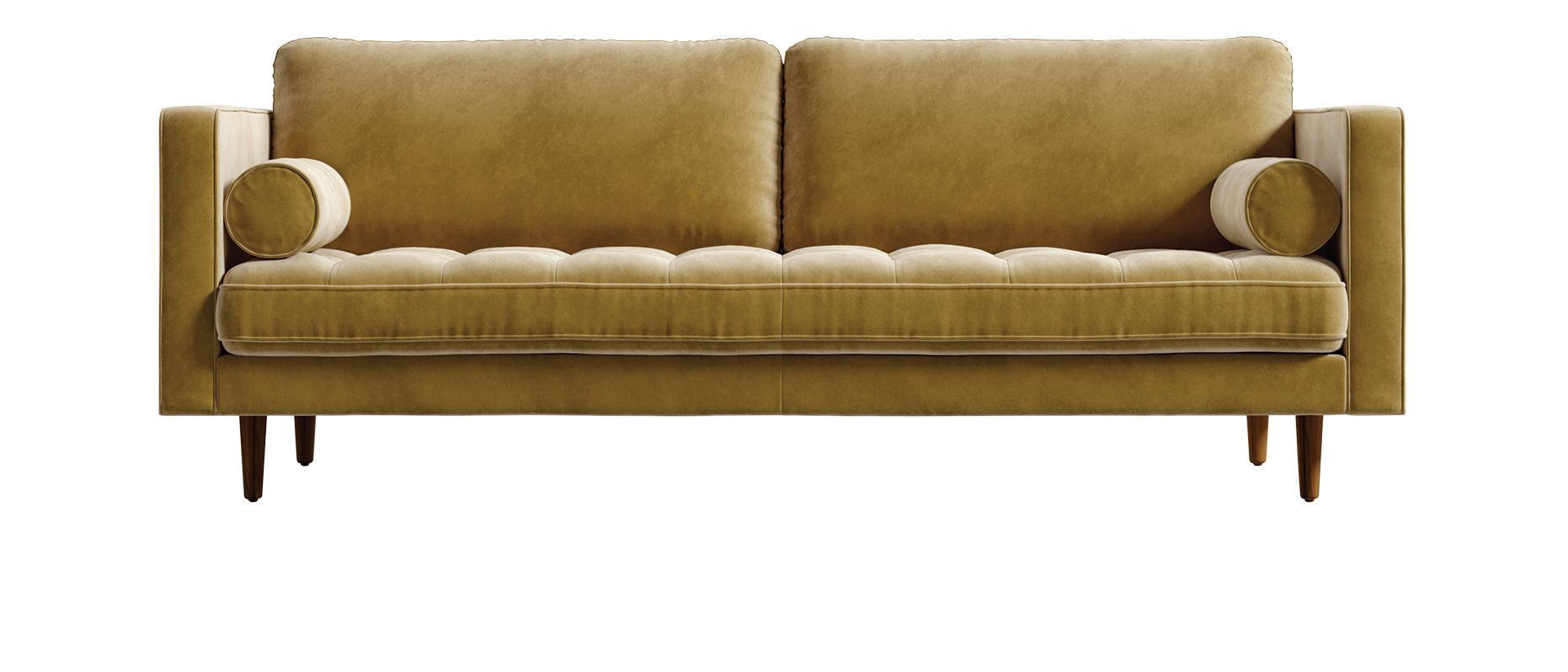 LEFT Luca sofa in Golden Beryl velvet by Rove Concepts