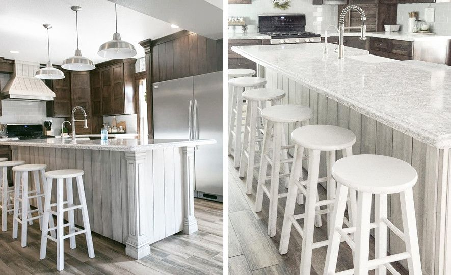 Two-tone cabinets pair beautifully with Cambria Berwyn in this farmhouse kitchen.