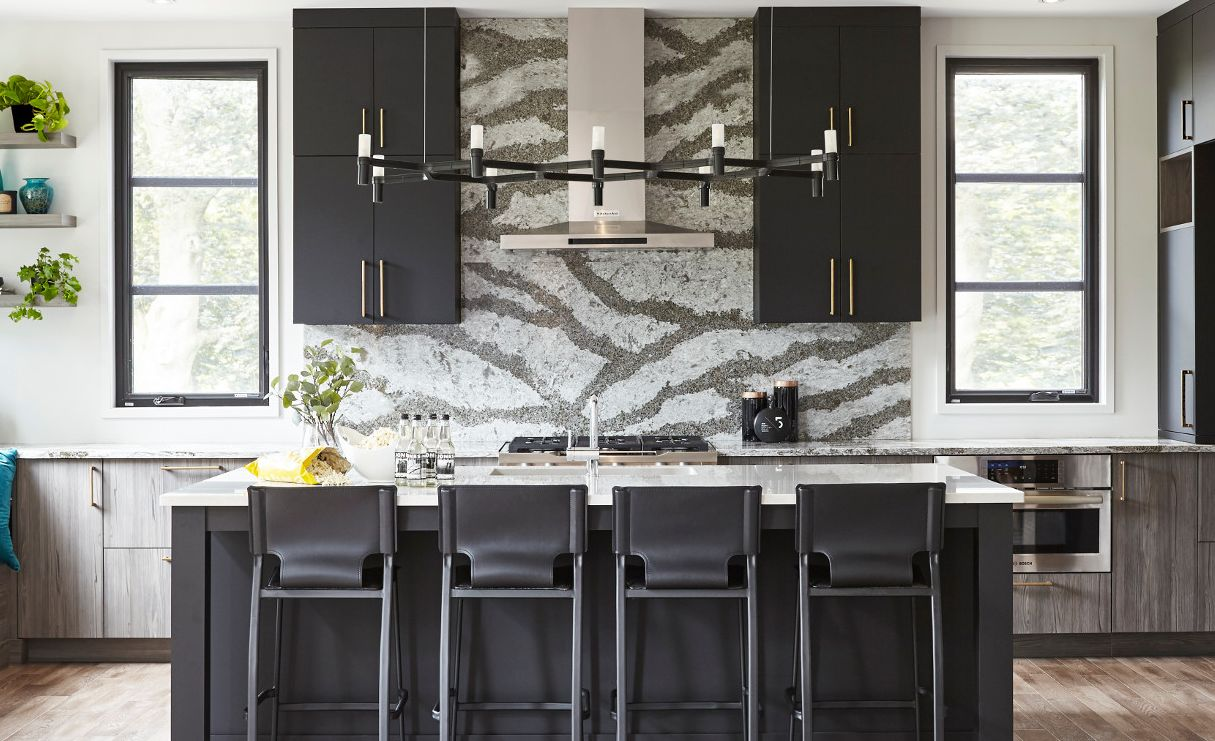 A full-height Cambria Galloway backsplash makes a stunning feature wall.