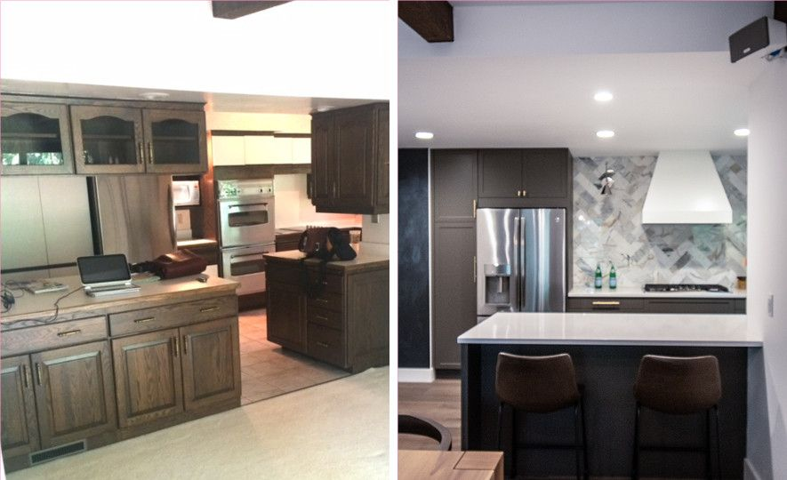 Kitchen before and after featuring Cambria Newport.