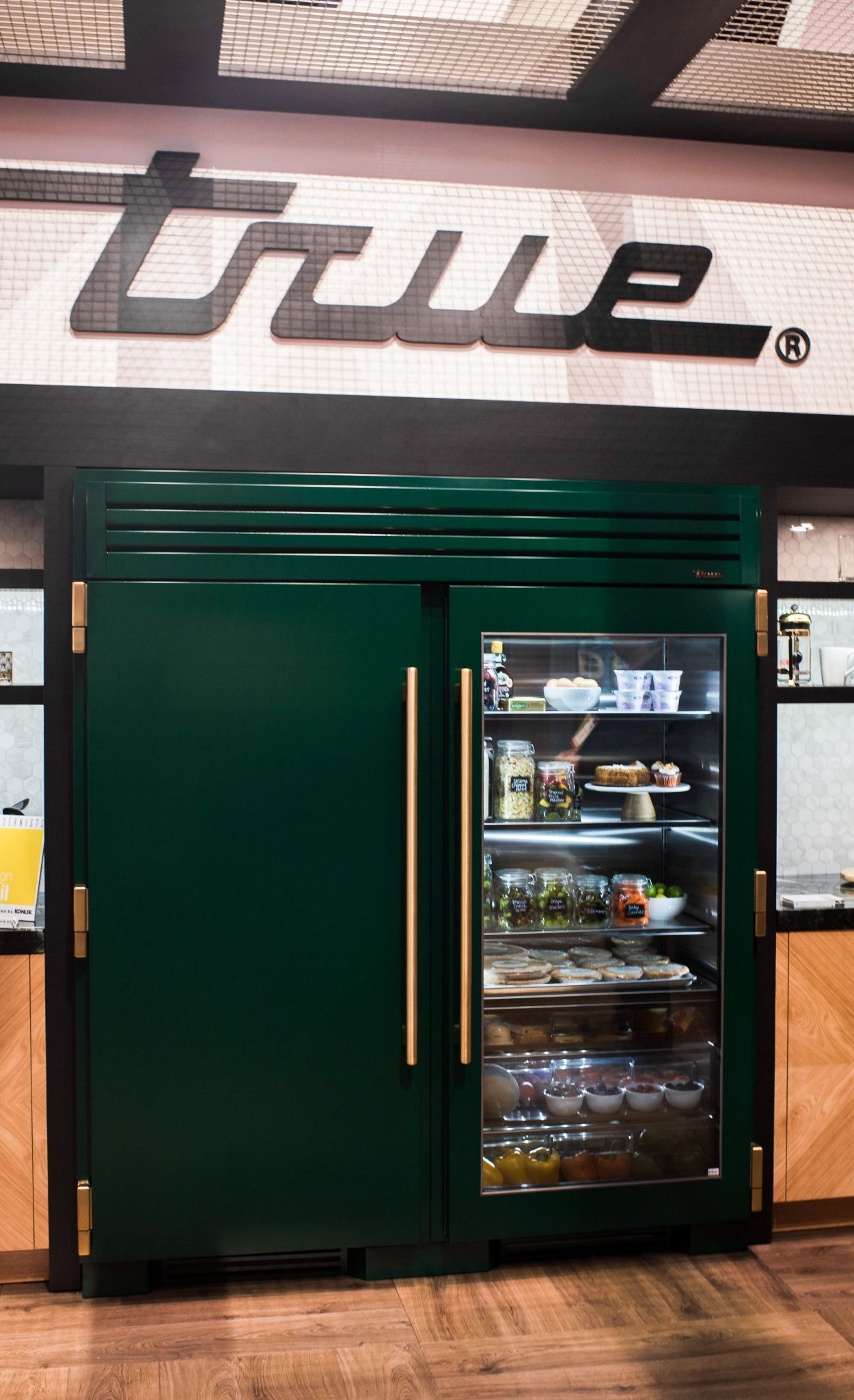 A commercial-grade refrigerator in emerald green adds luxury and personalization to home kitchens.