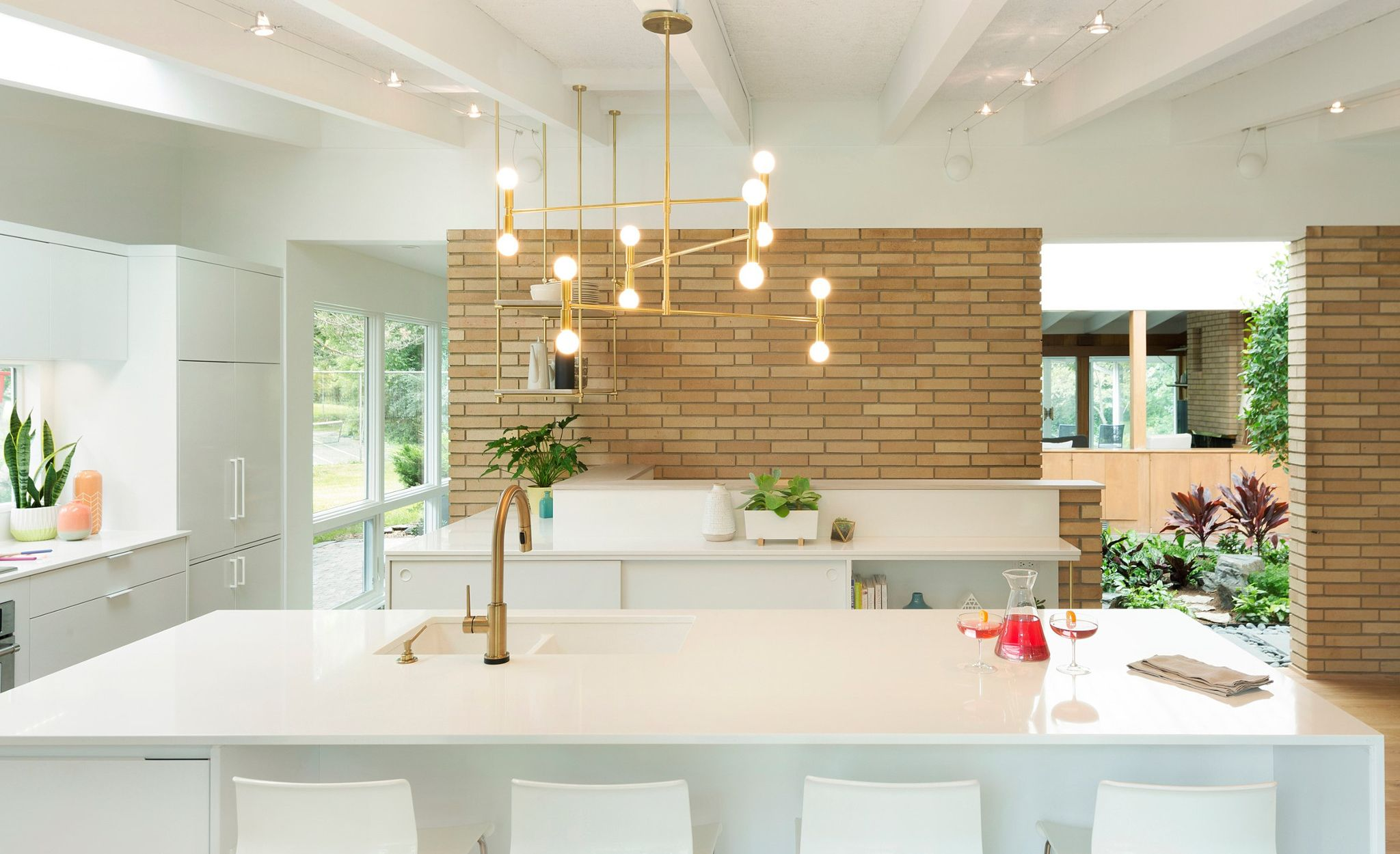 Pristine Cambria White Cliff in a chic Scandanavian meets midcentury modern space.