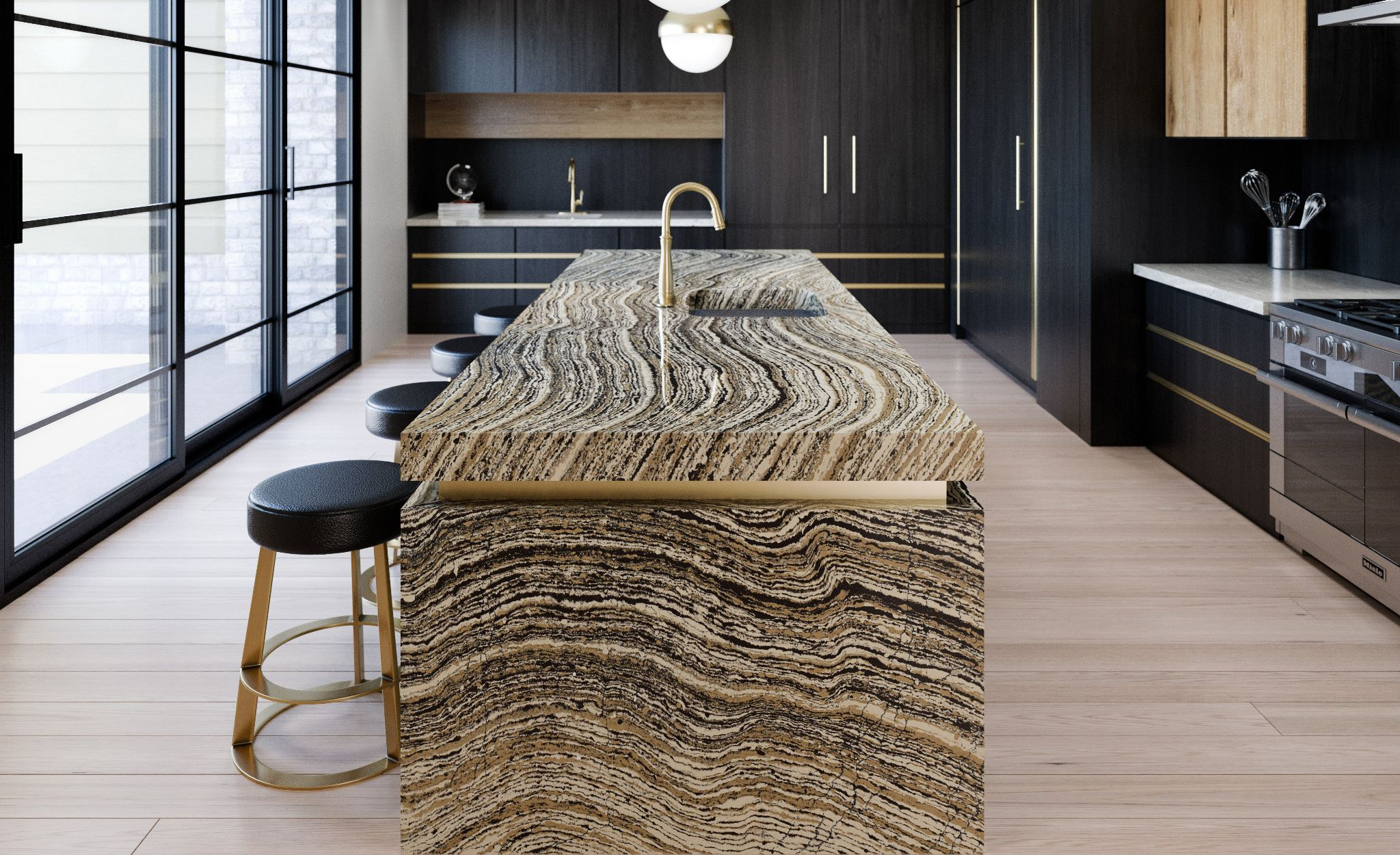 Cambria Clairidge offers a dramatic alternative to wood countertops.