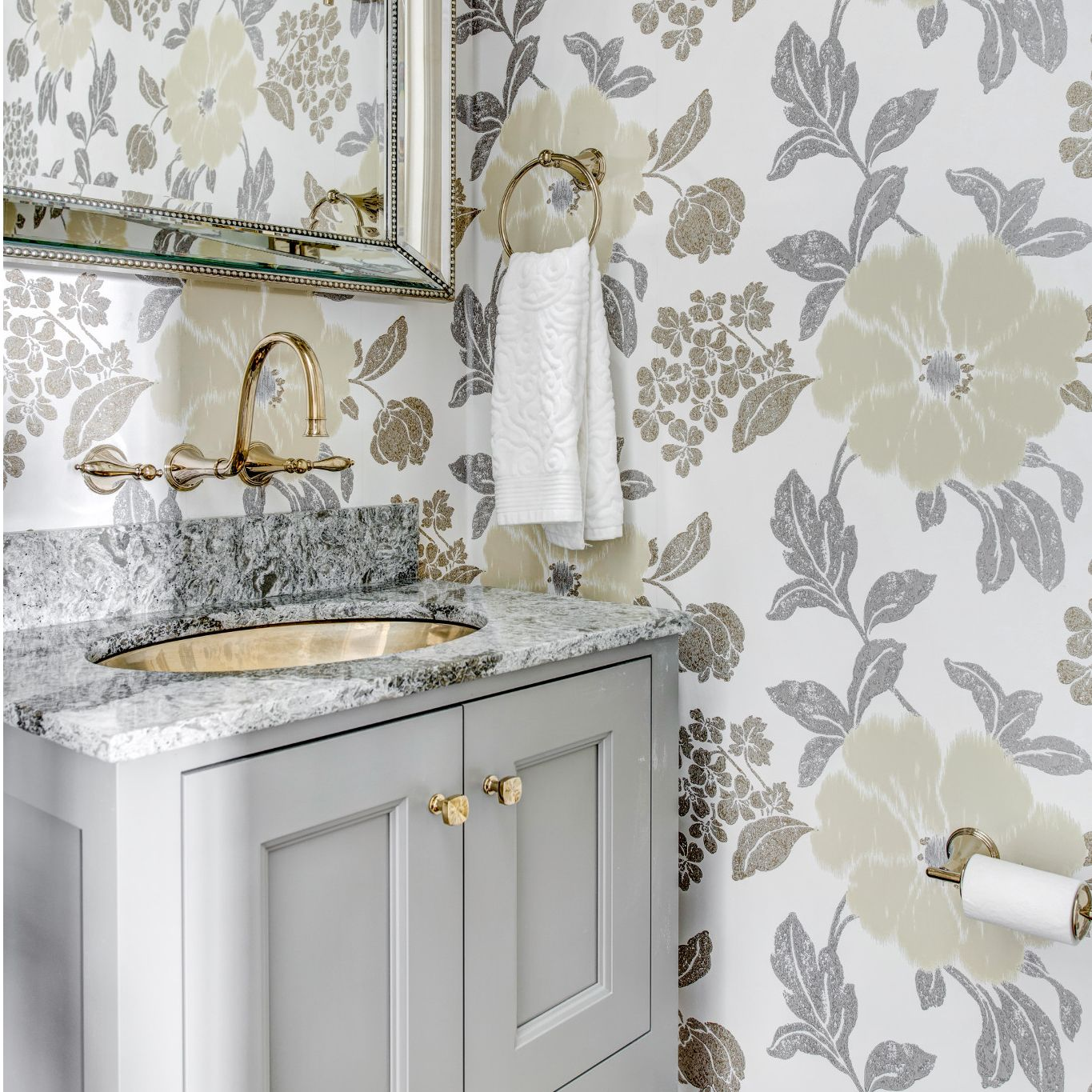 Don't be afraid to add a patterned wallpaper to Cambria Galloway for a unique look.