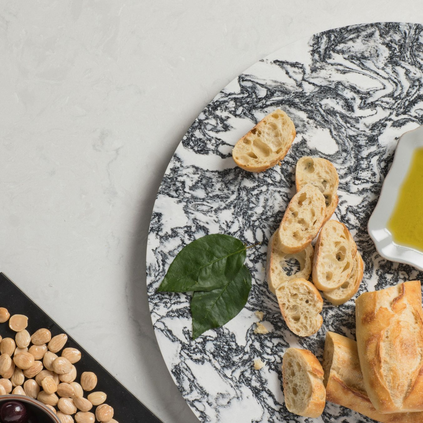 Cambria lazy Susan being used to serve bread.