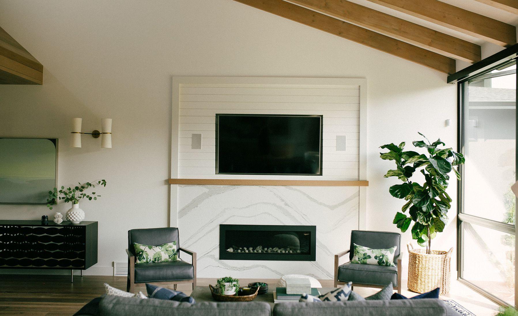 Cambria Brittanicca quartz fireplace surround.