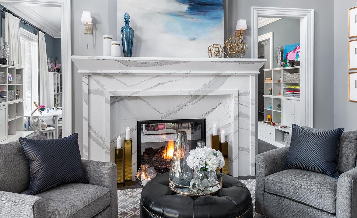 Cambria Brittanicca quartz fireplace surround and mantel.