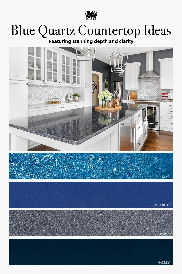 Cambria blue quartz countertop designs, including Mediterranean blue Skye, cobalt Bala Blue, blue-gray Parys, and navy Hadley.