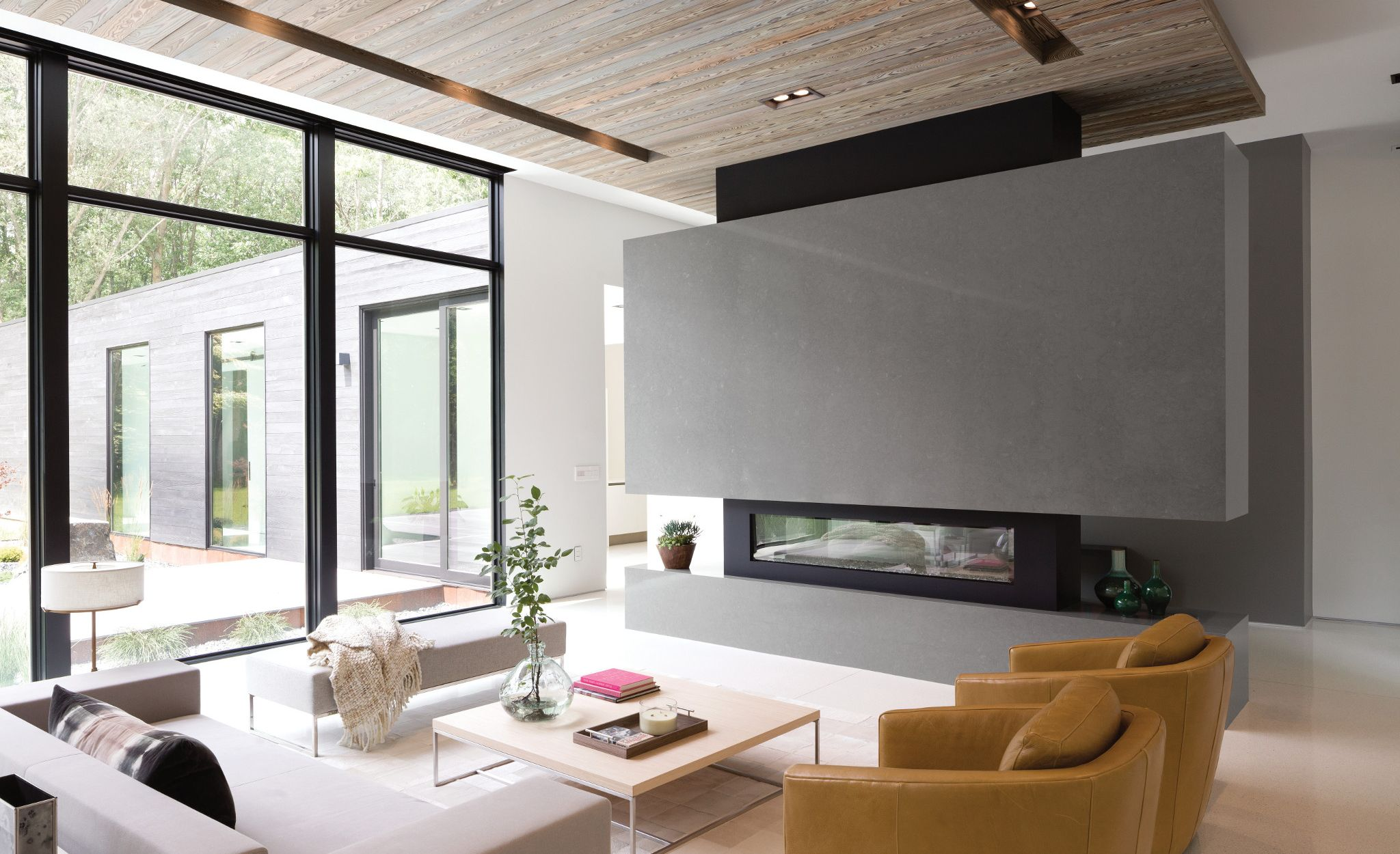 Cambria Carrick fireplace in a contemporary home.