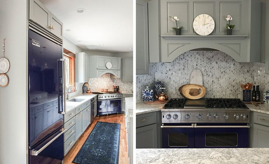 Gray kitchen featuring blue appliances and CambriaBerwyn Matte countertops.
