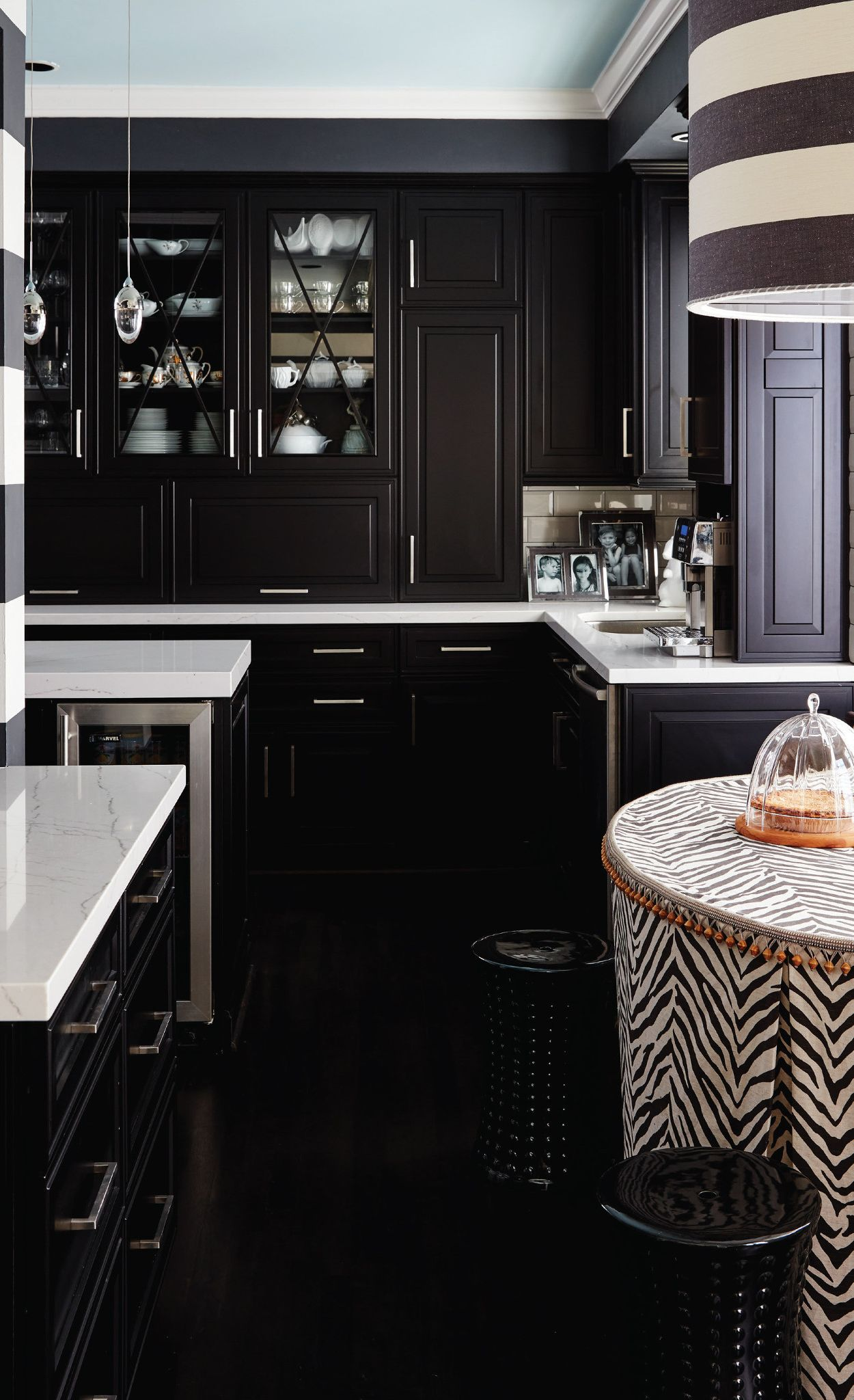 High-contrast, black and white kitchen featuring Ella in Designer, Vern Yip's home.