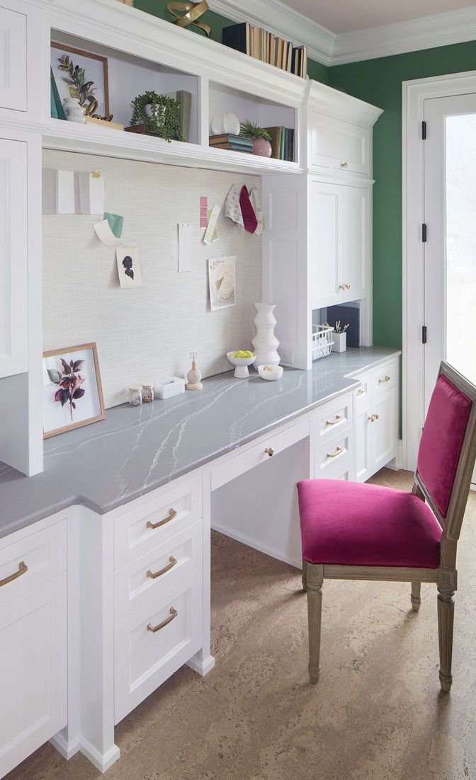 Inviting workspace with Queen Anne™ countertop.