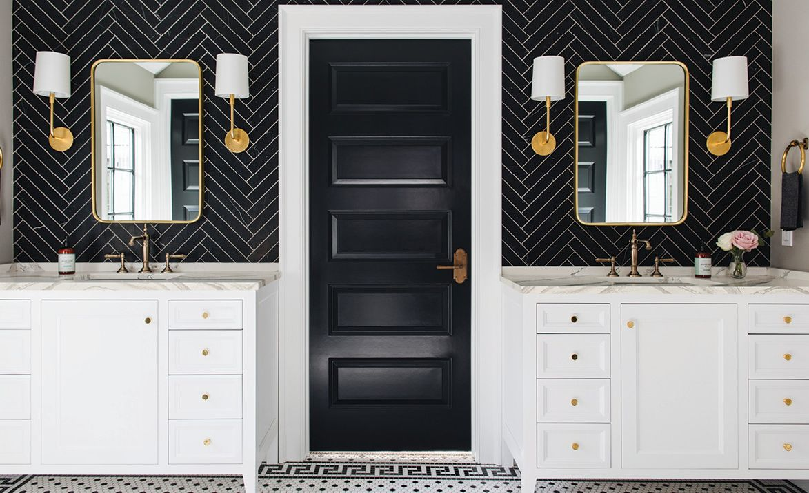 Cambria Brittanicca Matte paired with white vanities.