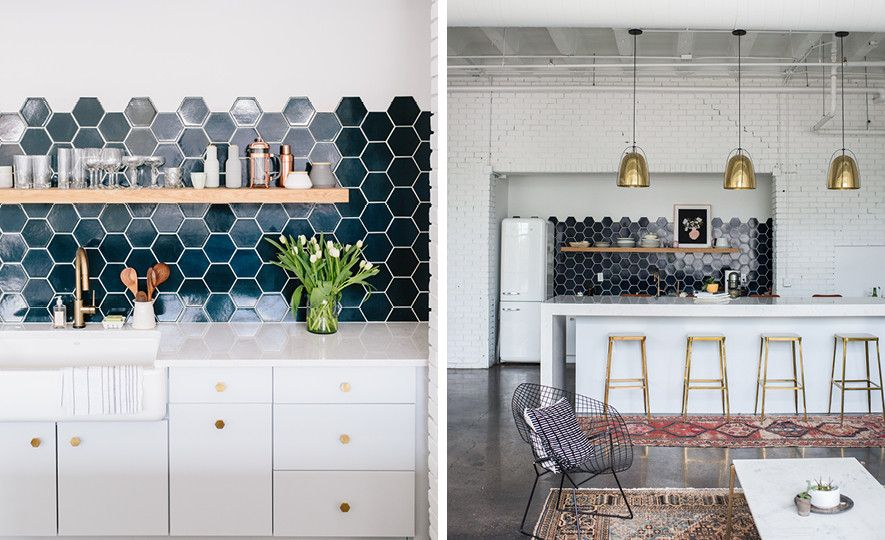 Dark navy hexagon tiles paired with Cambria Swanbridge.