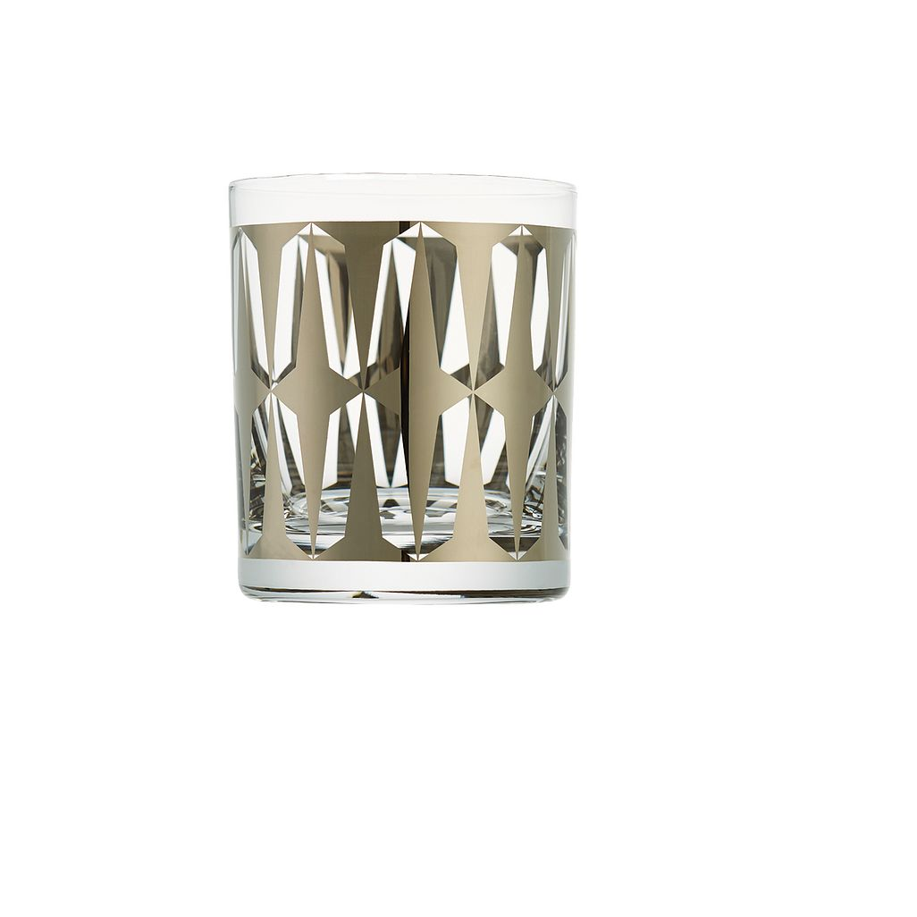 Drake metallic gold double old-fashioned glasses by CB2