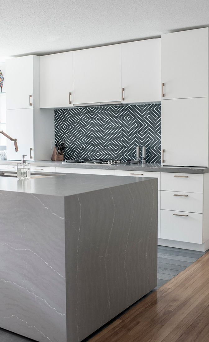 Matt Muenster's Midcentury Modern kitchen with Cambria Matte Clareanne concrete alternative