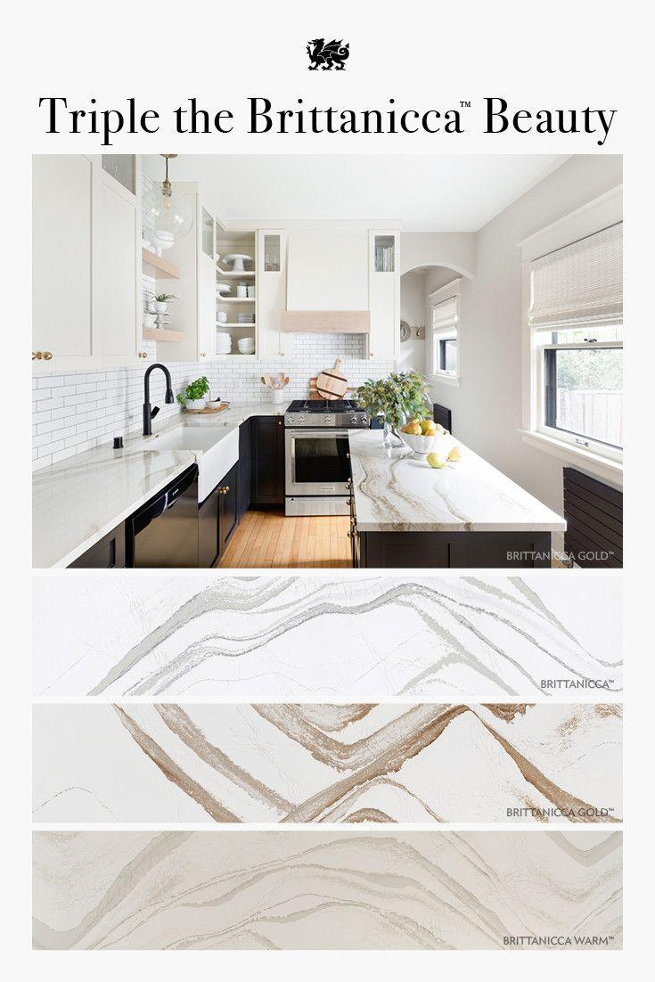Pin featuring Cambria Brittanicca Gold kitchen and all three Cambria Brittanicca design slab views.