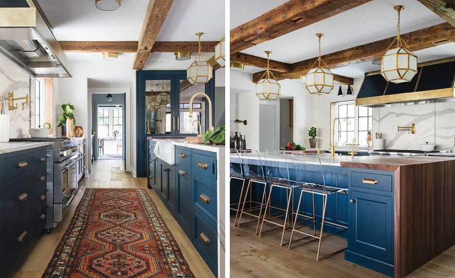 Blue and white kitchen featuring Cambria Brittanicca Matte.