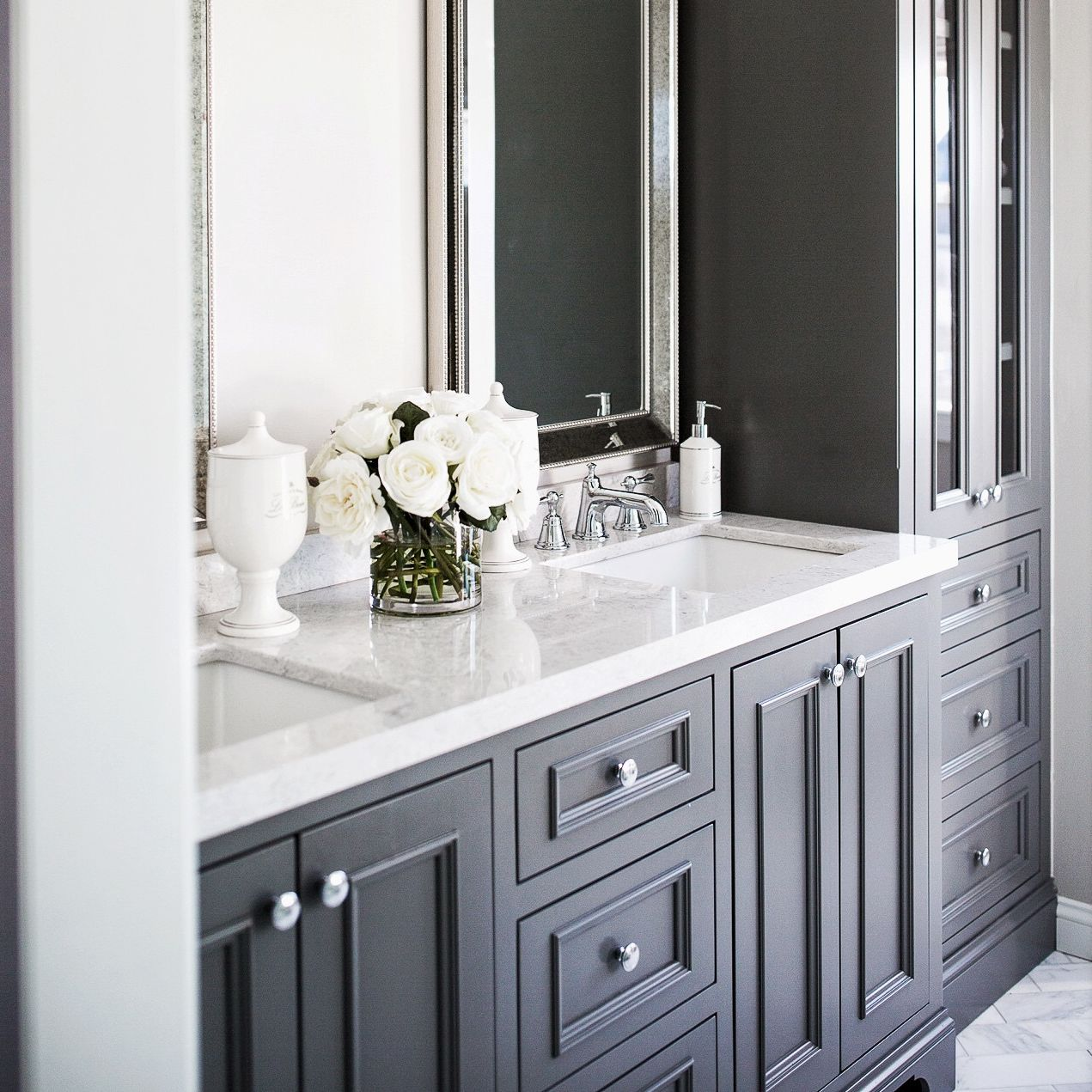Cambria Highgate vanity paired with gray cabinets.
