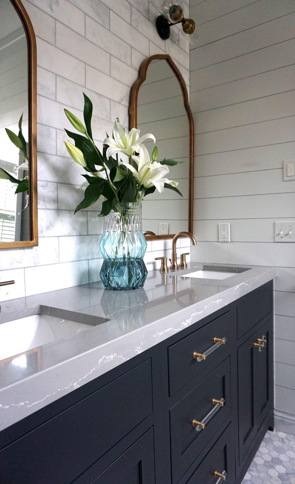 Elegant gray vanity with Clareanne™ countertops.