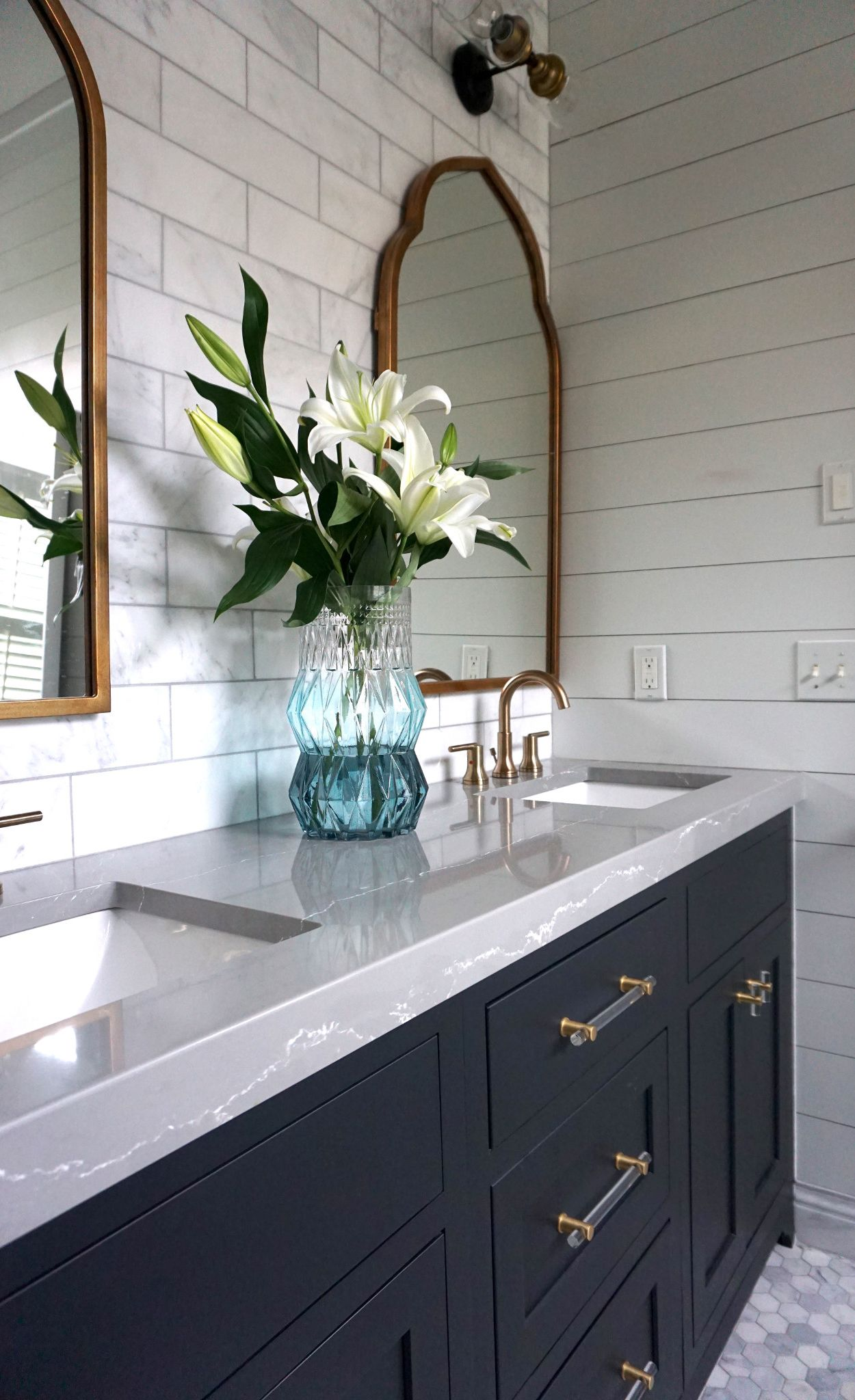Elegant gray vanity with Clareanne™ countertops.