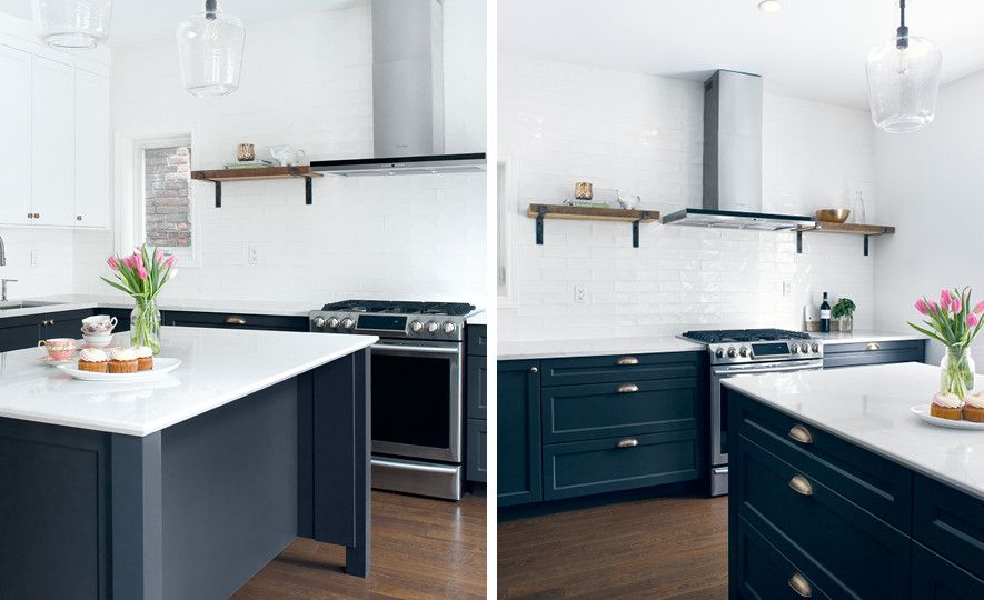 Navy and white kitchen featuring Ella countertops.
