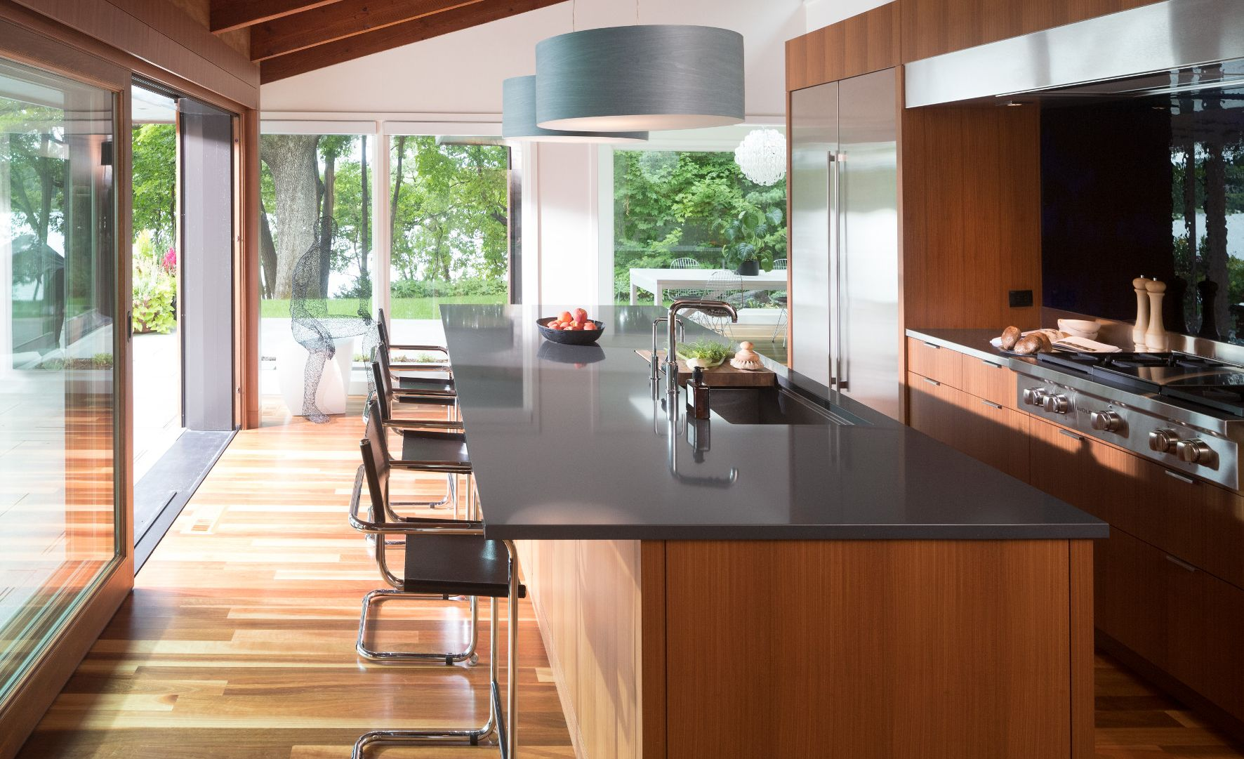 Cambria Fieldstone countertops in a midcentury modern kitchen remodel.
