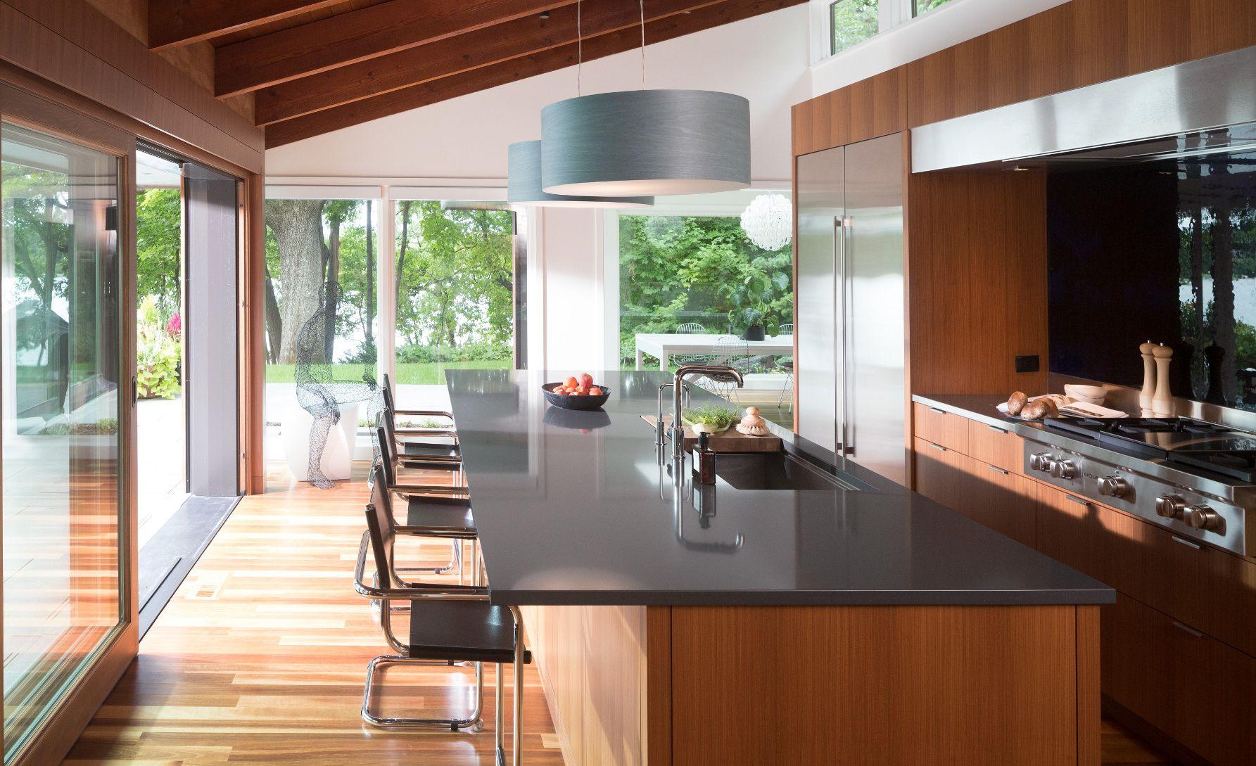 Cambria Fieldstone countertops in a midcentury modern kitchen remodel.