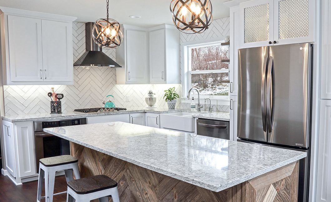 Cambria Berwyn makes a statement in this modern farmhouse kitchen.