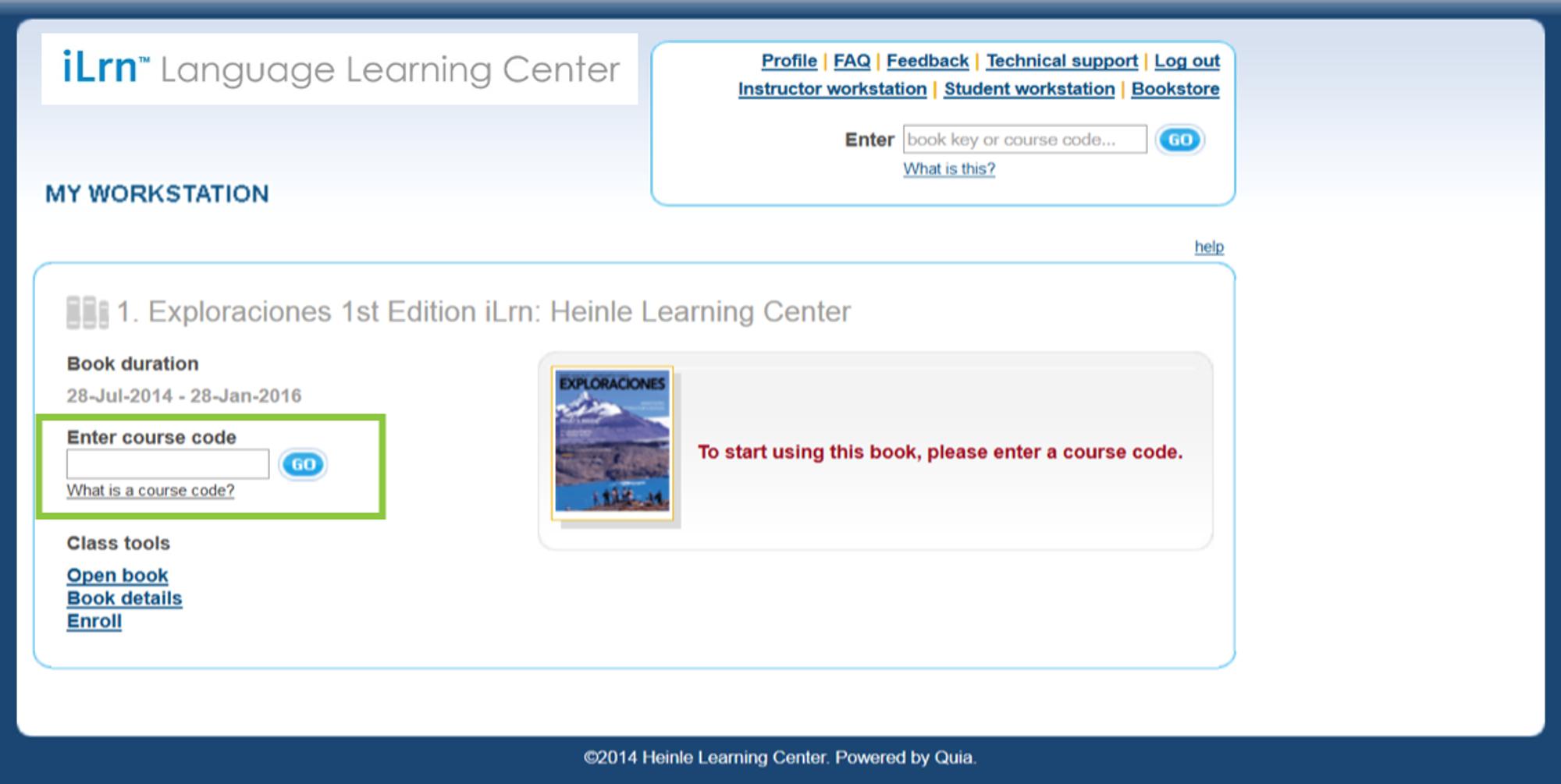 Course Code Entry Screen